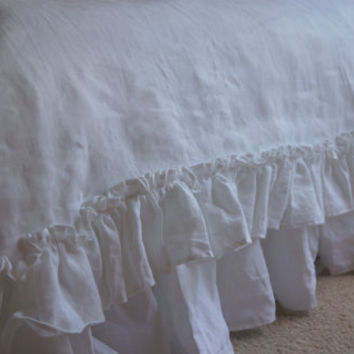 Linen sheets, shabby chic bedding, linen bedding , ruffled pillowcase also available, PURE LINEN