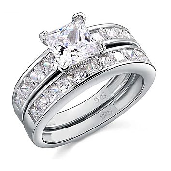 A Flawless 1CT Princess Cut Belgium Lab Diamond Bridal Set