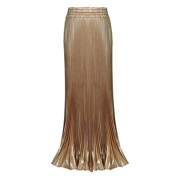 Hot Fashion High Waist Skirt Retro Accordion Pleated Skirt Metallic Pendulum Tail Skirts Womens 2017 free shipping