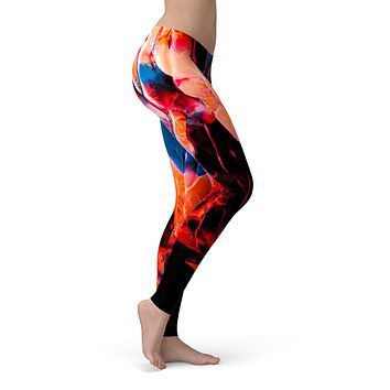 Liquid Abstract Paint V8 - All Over Print Womens Leggings / Yoga or Workout Pants