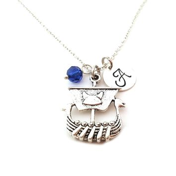 Viking Ship Charm Personalized Initial Sterling Silver Necklace