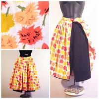 Sassy Skirt/Short Combo - Pedal Pushers with Skirt - 60s Skort - Vintage Floral Skirt - XS Sixties Flower Skirt and Shorts - FREE SHIPPING