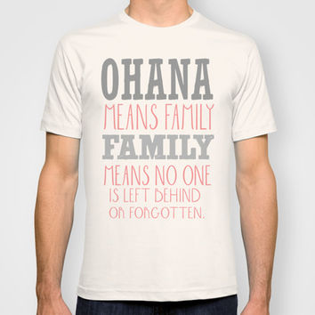 ohana means family.. pink T-shirt by Studiomarshallarts