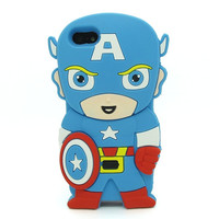 Universal Trading Superheroes & Superman series Design Cartoon Silicone case For Iphone 5C(Captain America) = 1946445636