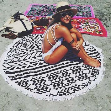 Qpladlse 2018 Pareo Round Beach Towel With Tassels Microfiber Bikini Cover Up Swimming Bath Large Towels Swimsuit Women Swimwear