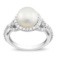 Sterling Silver 8.5-9 MM Freshwater Cultured Pearl, and Cubic Zirconia Ring