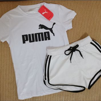 "Women Fashion ""PUMA"" Print Short sleeve Top Shorts Sweatpants Set Two-Piece Sportswear"