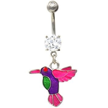 Beautiful Flying Hummingbird Belly Button Ring