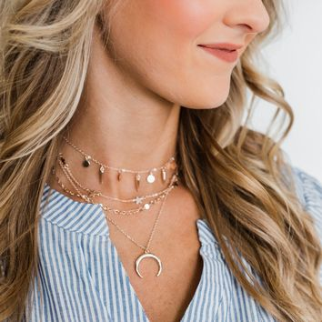 4 Layer Crescent Moon Necklace- Rose Gold