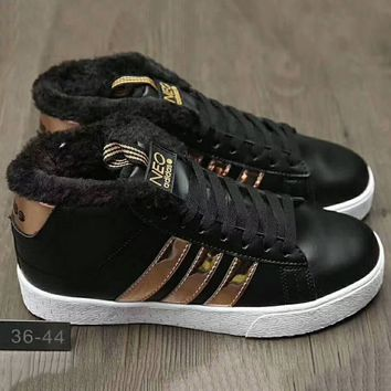 Adidas Fashion Casual Wool Running Sport High Top Shoes Sneakers Black+Golden G-XYXY-FTQ