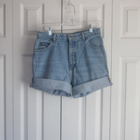 Womens Jean Shorts, High Waisted Shorts, Cut Off Shorts, Vintage High Waist 31, Size 10 Roll Up Denim Shorts Cutoffs, Mom Hipster Shorts