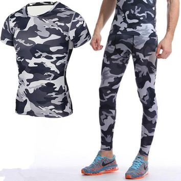 Mens Sports Running Set Compression T-Shirt + Pants Skin-Tight Short Sleeves Fitness Training Clothes Gym Yoga Suits