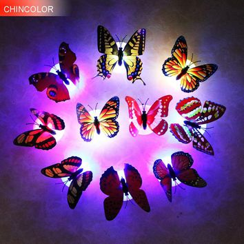 10pcs/lot Color light Butterfly Wall Stickers easy installation night light Home living kid room Fridage bedroom decor SR