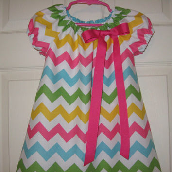 Girls Toddlers Babies multi color pastel Chevron Peasant dress Easter......size 6mo. thru 10 girls