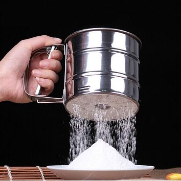 Stainless Steel Mesh Flour Sifter Mechanical Baking Icing Sugar Shaker Sieve Cup Shape Bakeware Baking Pastry Tools