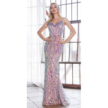 Long Fitted Sequin Print Gown Multi Nude Iridescent Pattern Sheer Illusion Sides