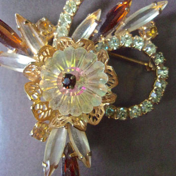 JULIANA Margarita Rhinestone Navettes Brooch, Jonquil Yellow & Brown, Verified, Vintage Book Piece