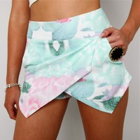 PASTEL MINT GREEN PINK PEONY FLORAL DOUBLE POINTY WRAP SKORT SHORTS 6 8 10 12