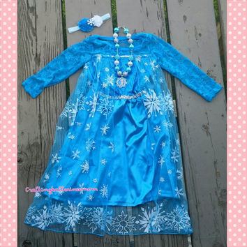 Elsa Frozen Dress - Frozen Birthday Outfit Set - Dress - Elsa Necklace - Snowflake Dress - Toddler Birthday - 3rd Birthday - 4th Birthday