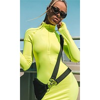 Press To Play Neon Lime Green Long Sleeve Mock Neck Zip Front Bodycon Midi Dress - 3 Colors Available