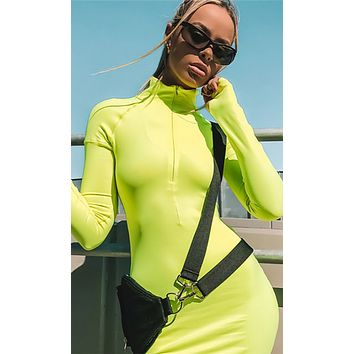 Press To Play Long Sleeve Mock Neck Zip Front Bodycon Midi Dress - 3 Colors Available