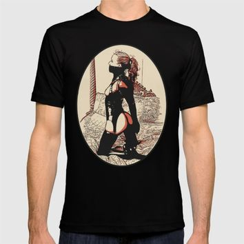 Rustic style BDSM, bondage, fetish slave girl, sexy in latex costume, hot redhead erotic art T-shirt by Peter Reiss