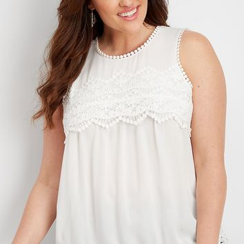 plus size crocheted yoke tank | maurices