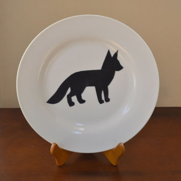 Fox Decoupage Plate, Animal Lover, Plate Art Decoupage, Wall Decor, Home Furnishings, Kitchen Accents, Gift for Her, Animal Decor