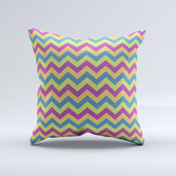 Retro Colored Green & Purple Chevron Pattern  Ink-Fuzed Decorative Throw Pillow