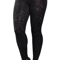 Black Faux Carved Leggings Design 137