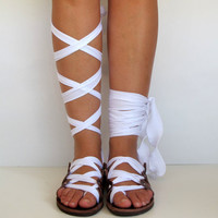 "Leather Sandals, handmade, Unique design, with satin plisse straps ""APHRODITE"" AS15 All sizes Available"