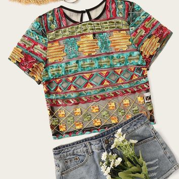 Embroidery Appliques Mesh Top