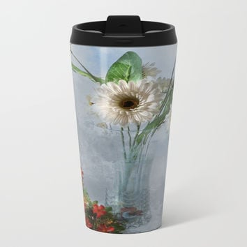Wildflower Still LIFE Metal Travel Mug by Theresa Campbell D'August Art