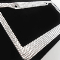 Rhinestone Bling License Plate Frame, Clear/Silver 7 Row Frames w/Screw Cap Covers, Crystal Car Accessory, Bling Car Decor, Car Bling Frame