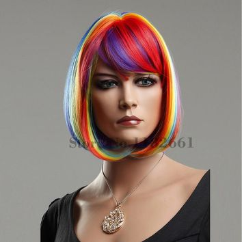 Unicorn Rainbow Hair Wig Short Bob With Bangs Fancy Premium For Party, Night Out, Costume, Cosplay