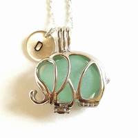 Personalized Jewelry Genuine Sea Glass In Sterling Elephant Locket