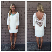 Lace stitching hollow out fashion White dress Y831792