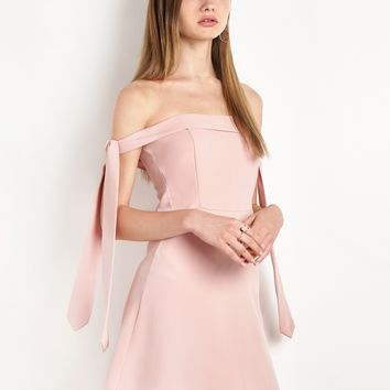 BLUSH ANIKA ARM SLEEVE TIE OTS DRESS BY NEW REVIVAL