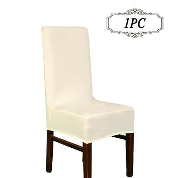 1PC Lycra Chaircover Polyester Spandex Elastic Tissu Dining Chair Covers for Vintage Home Decor 20 Color Solid Color Stool Cover