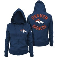 Denver Broncos 5th and Ocean by New Era Women's Zone Blitz Full Zip Hoodie – Navy Blue