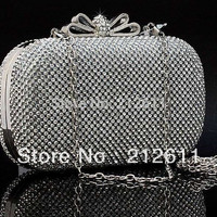 2016 New Arrival Wristlets Silt Pocket Mini(<20cm) Interior Slot Hot Style of Full Diamond Evening Clutch Bag Party Purse Frame