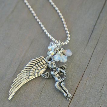 Wings of an Angel Swarovski Bead Necklace - Angel Playing Trumpet Wing Cha Cha Necklace Charm Silver Cluster Vintage Style