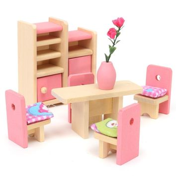 Wooden Delicate Dollhouse Furniture  Pretend Play Set