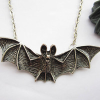 necklace---antique silver BIG 3d bat pendant&alloy chain