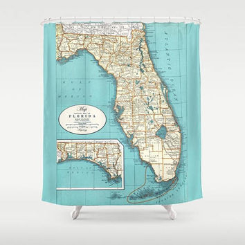 Florida State Map Shower Curtain -  Map of Florida,  soft teal, Florida Keyes, Coastal travel decor