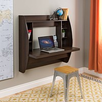 Wall Mount Space Saving Modern Laptop Computer Desk in Espresso