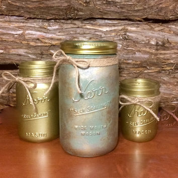 Green Mason Jars, green canisters, Green Marbled Mason Jar Set, gold mason jars, Mason jar centerpiece, mason jar bathroom, mason jar office