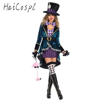 Halloween Sexy Dress in Wonderland Costumes Cosplay Women Girls Alice Princess Quess Female Blue Coat And Purple Skirt