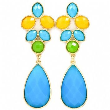 Alonda's Chunky Blue, Yellow & Green Stone Teardrop Earrings