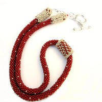 Red and Silver Crocheted Rope Necklace